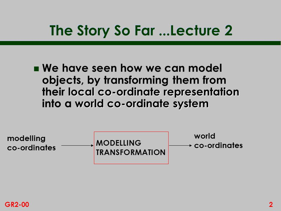 The Story So Far ...Lecture 2