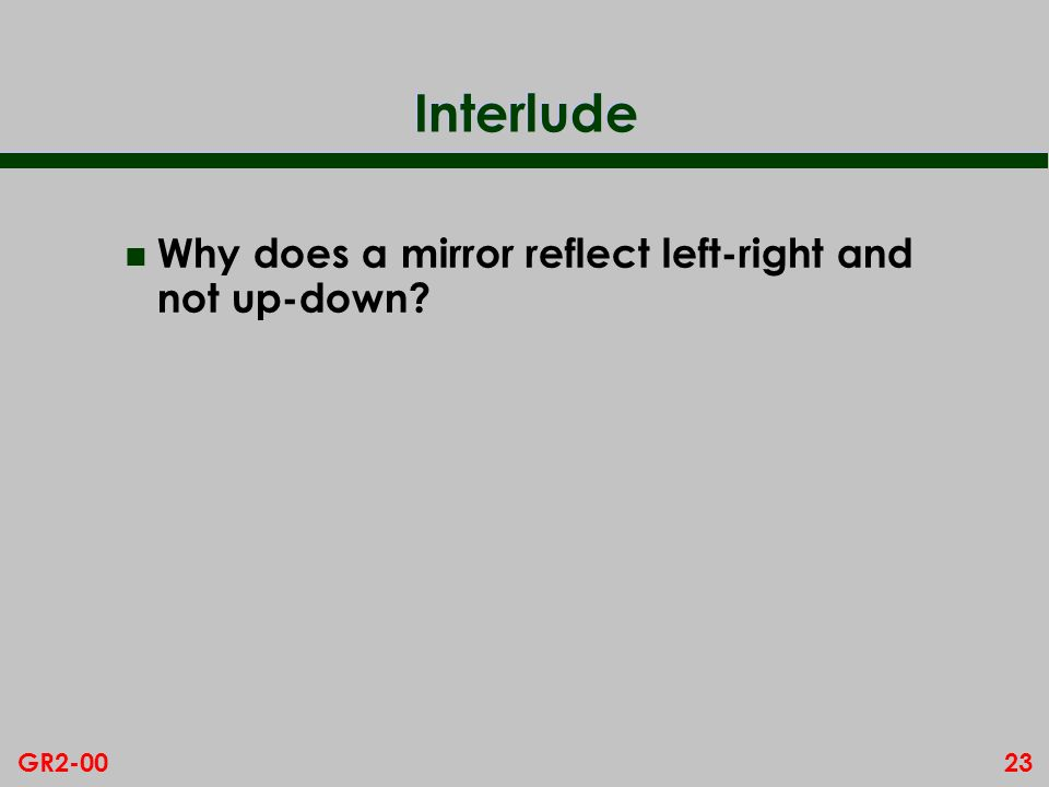 Interlude Why does a mirror reflect left-right and not up-down