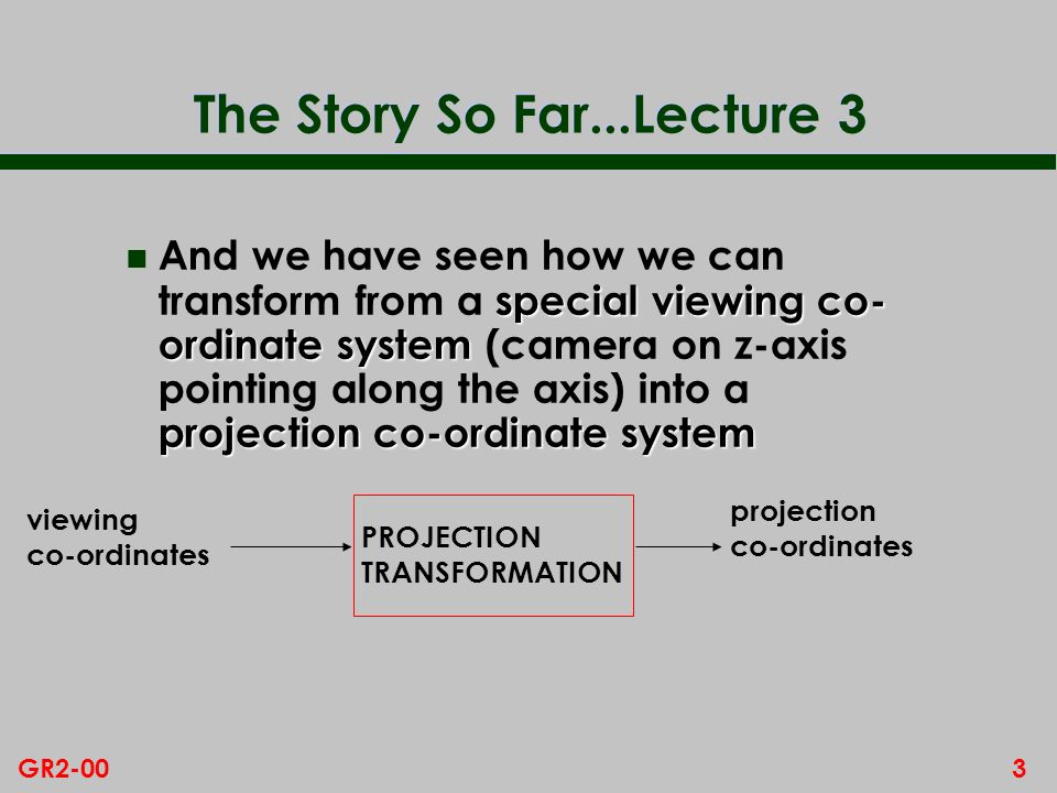 The Story So Far...Lecture 3