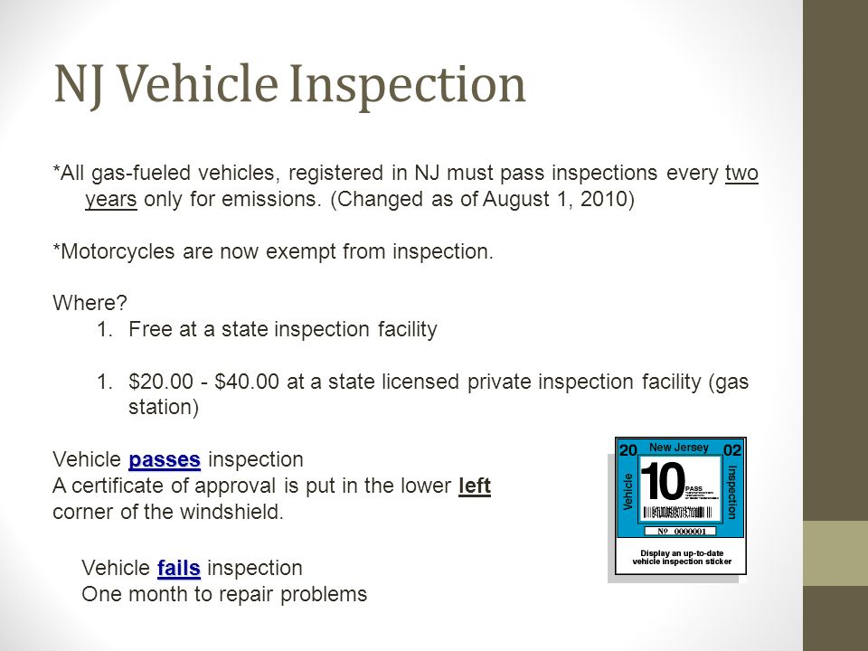 Do now 1 in a paragraph what does it means to you to for Nj motor vehicle inspection