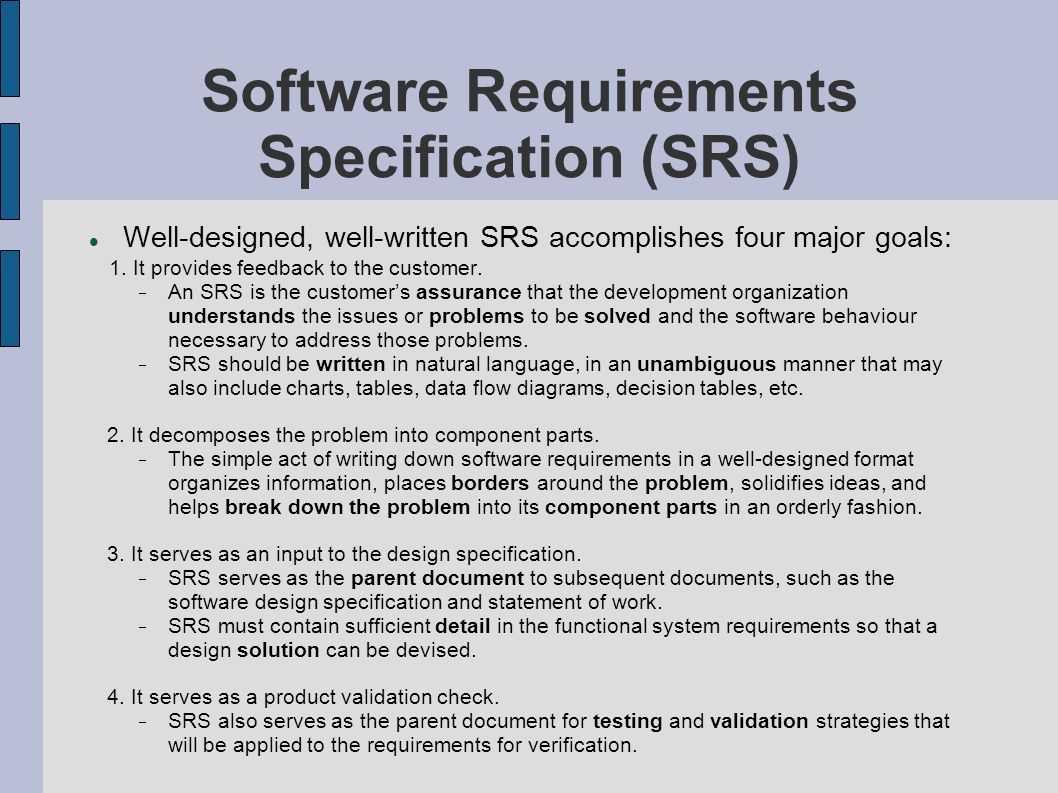srs software requirement specification template - project management in team software projects ppt download
