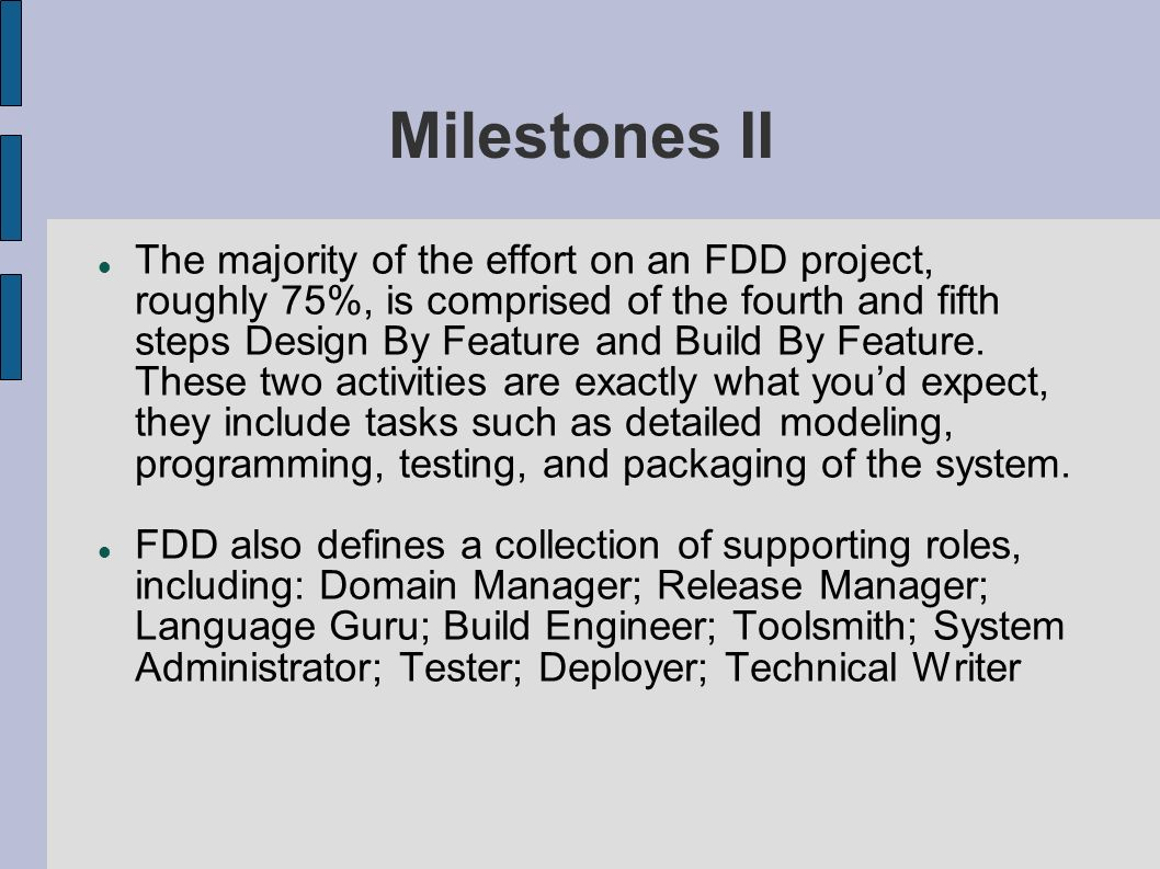 Milestones II