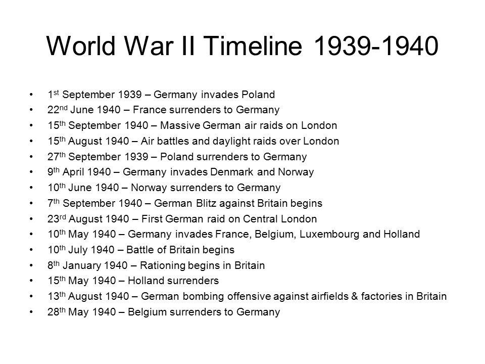 World War II Timeline 1st September 1939 – Germany invades Poland ...