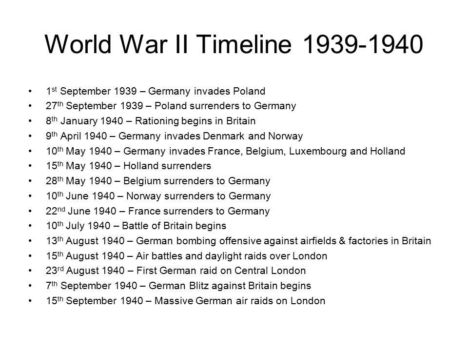 World War II Timeline 1st September 1939 – Germany invades ...