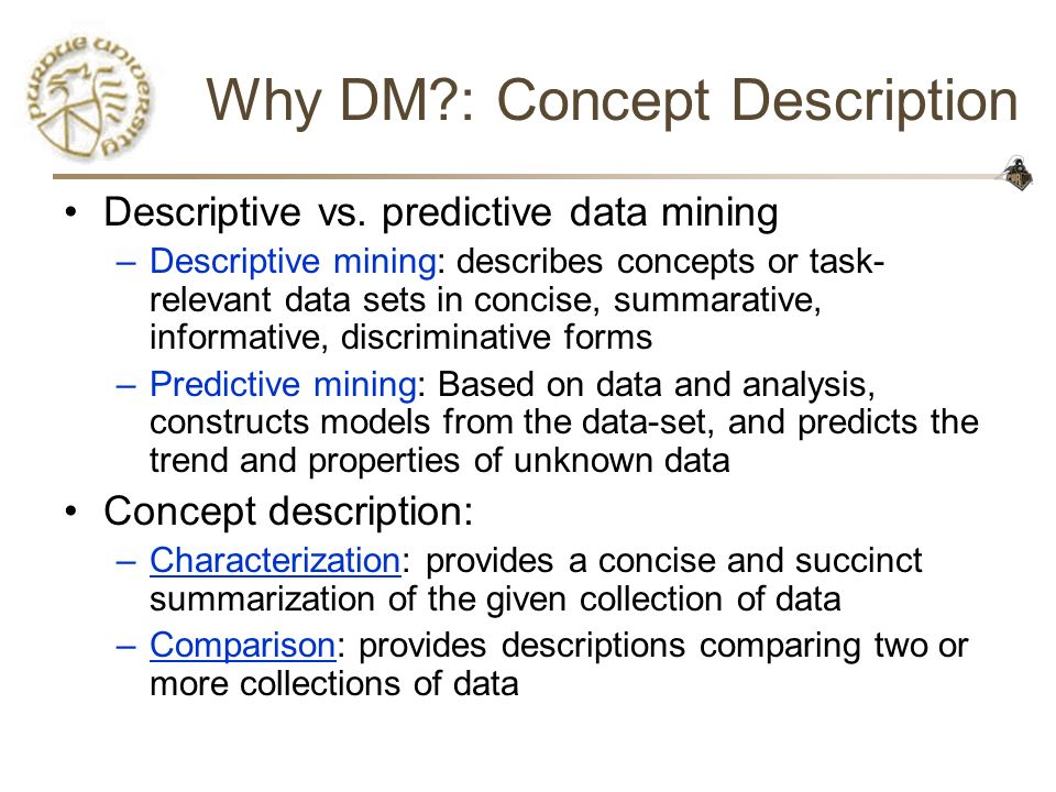 Why DM : Concept Description