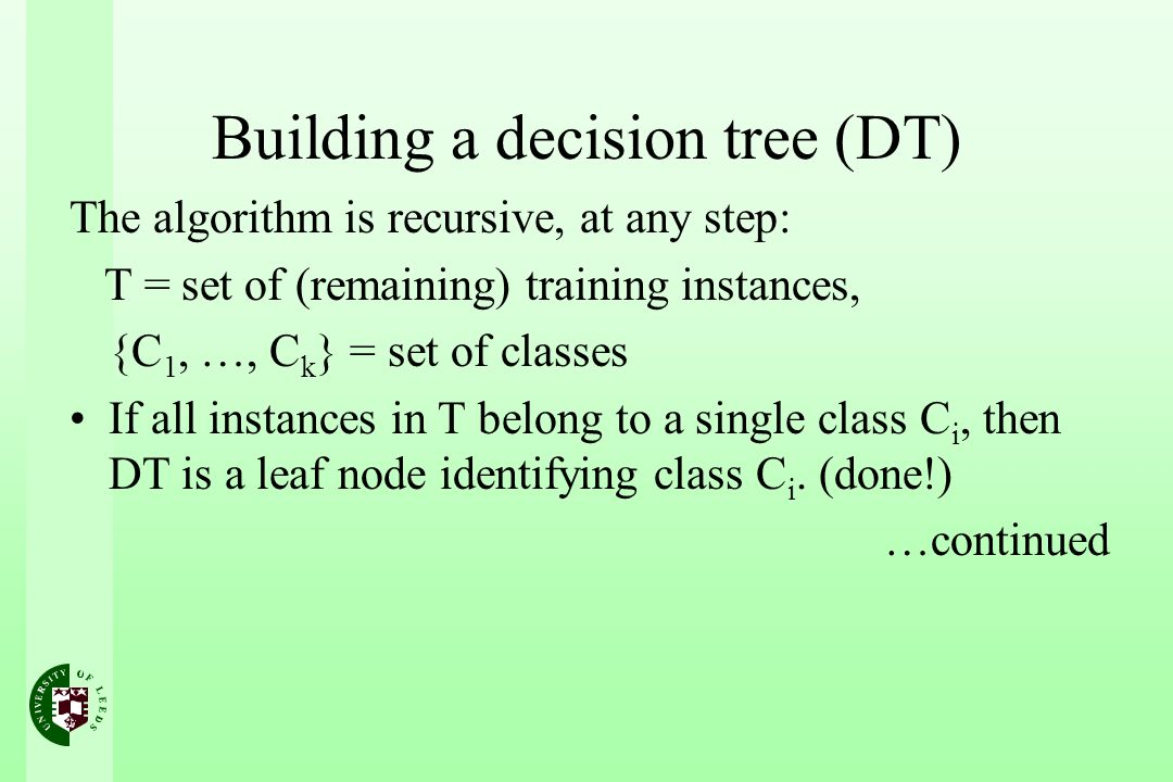 Building a decision tree (DT)