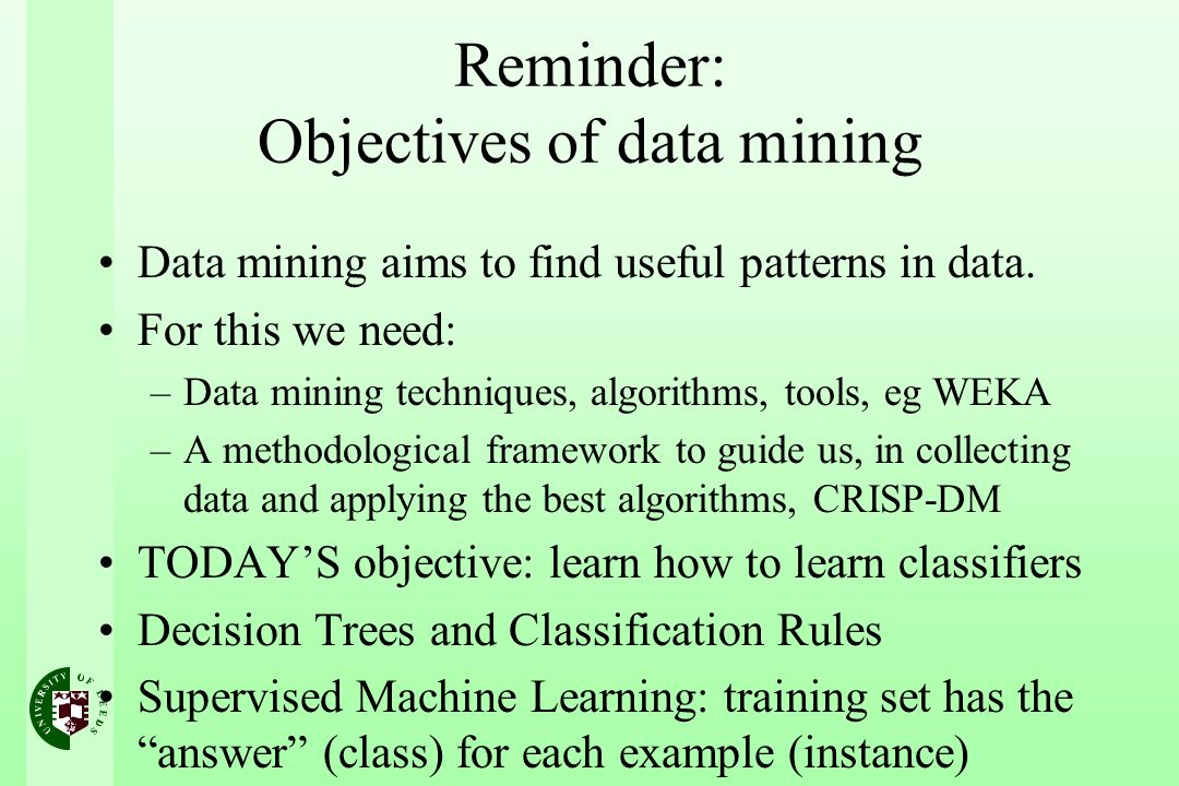 Reminder: Objectives of data mining