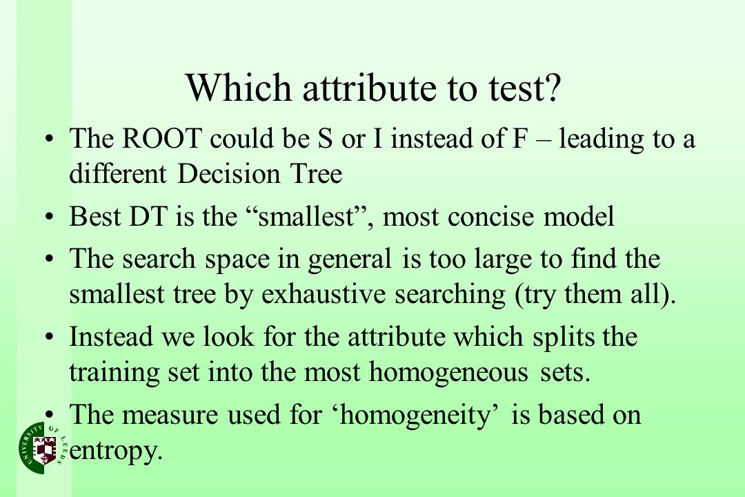 Which attribute to test