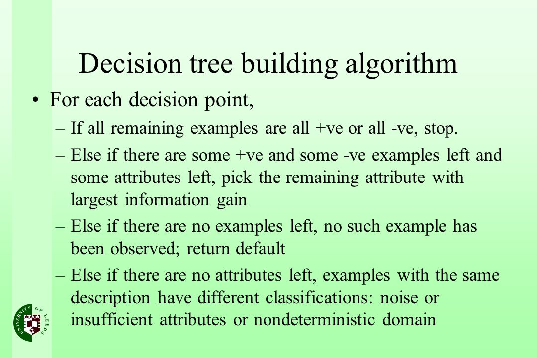 Decision tree building algorithm