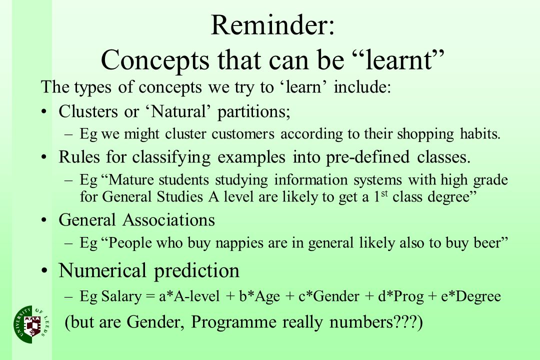 Reminder: Concepts that can be learnt