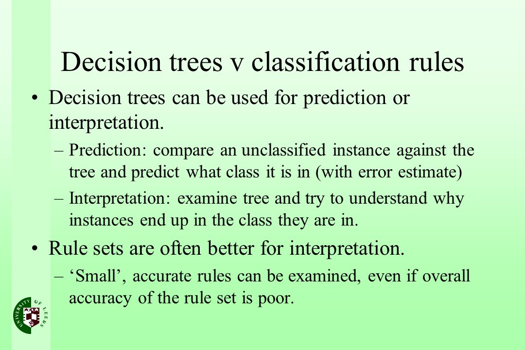 Decision trees v classification rules