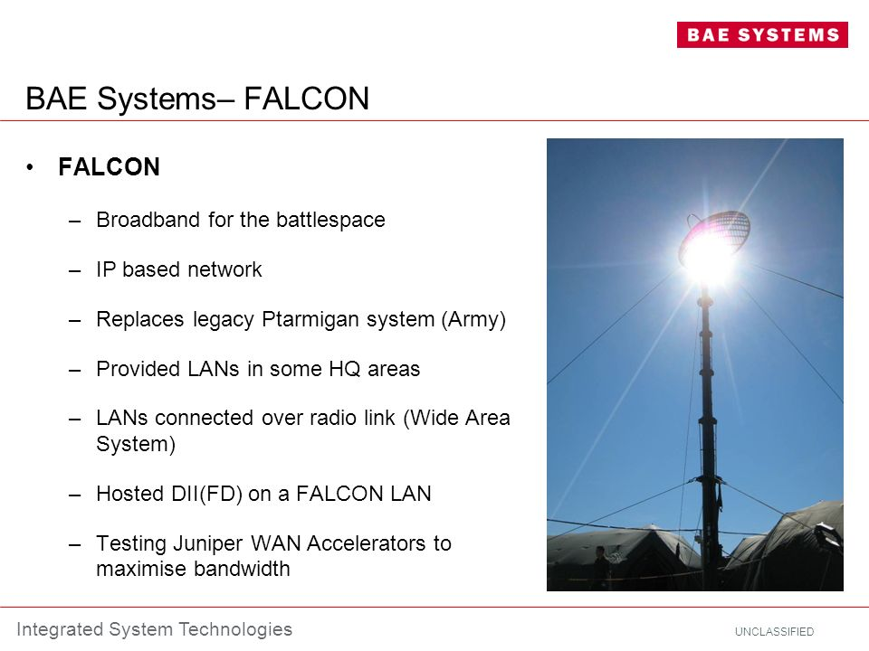 BAE Systems– FALCON FALCON Broadband for the battlespace