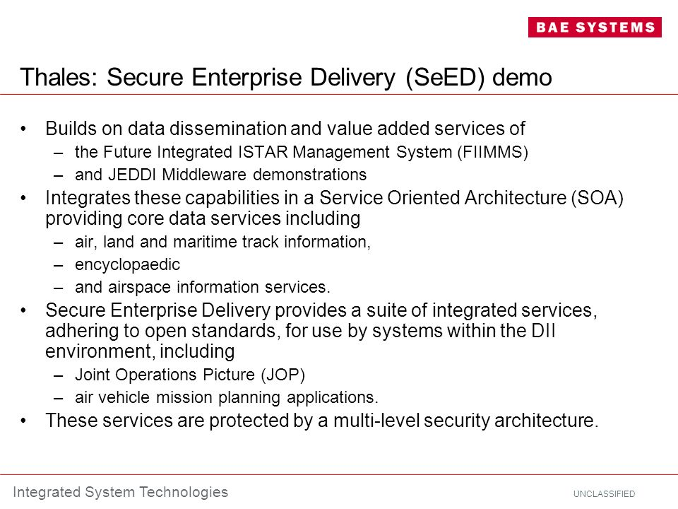 Thales: Secure Enterprise Delivery (SeED) demo