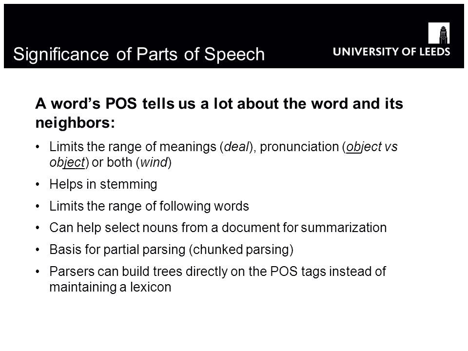 Significance of Parts of Speech
