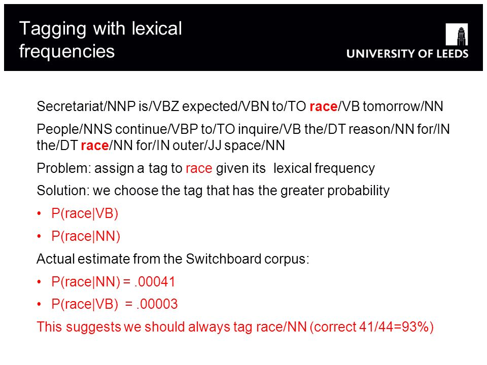 Tagging with lexical frequencies