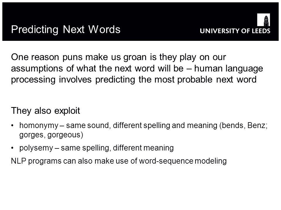 Predicting Next Words