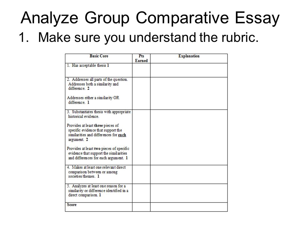 analyze group comparative essay ppt video online analyze group comparative essay