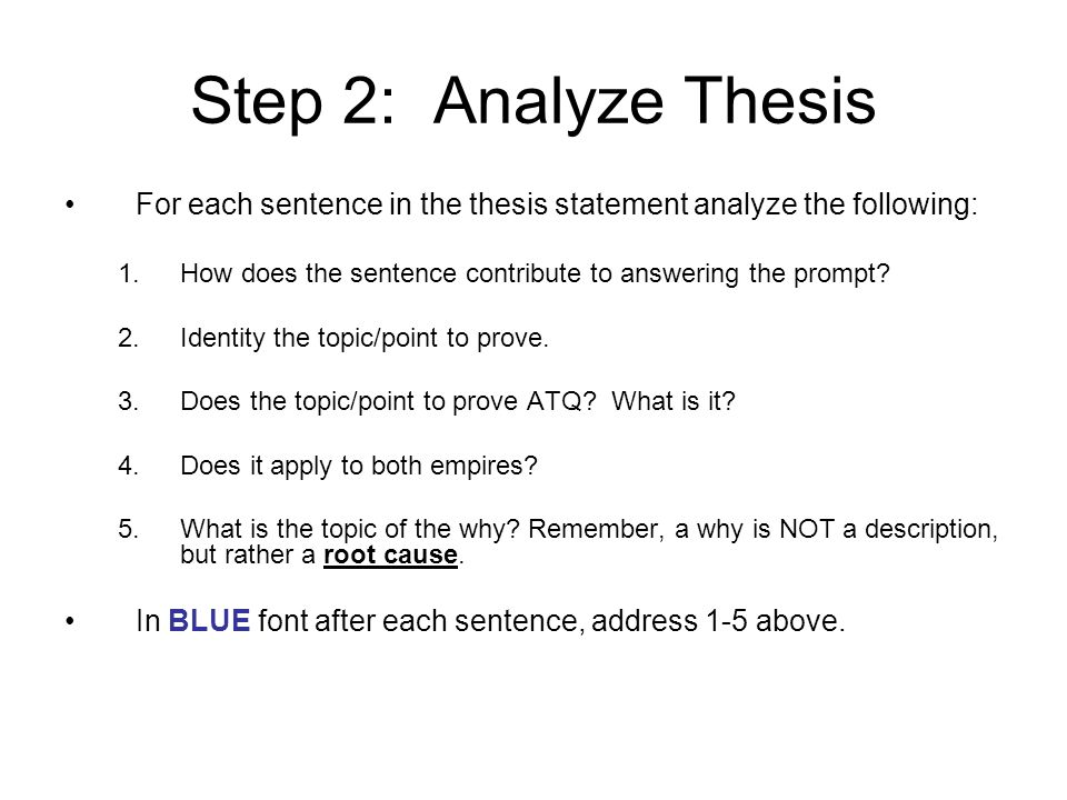 Analyze Group Comparative Essay  Ppt Video Online Download Step  Analyze Thesis For Each Sentence In The Thesis Statement Analyze  The Following