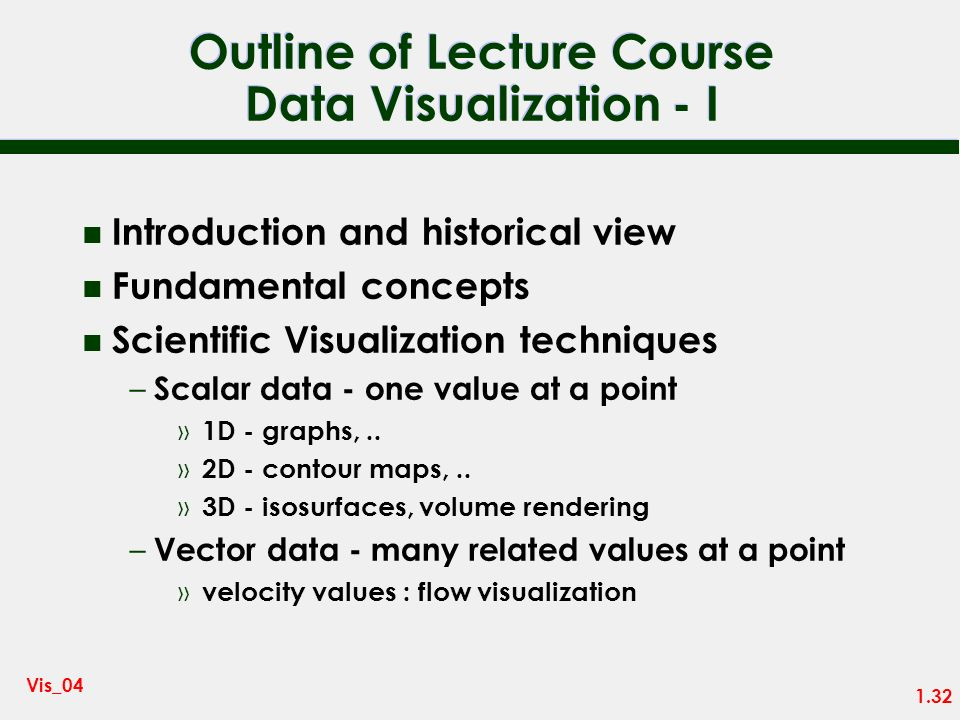 Outline of Lecture Course Data Visualization - I