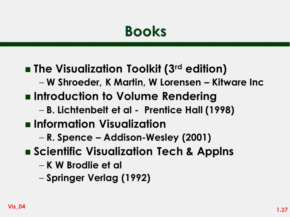 Books The Visualization Toolkit (3rd edition)