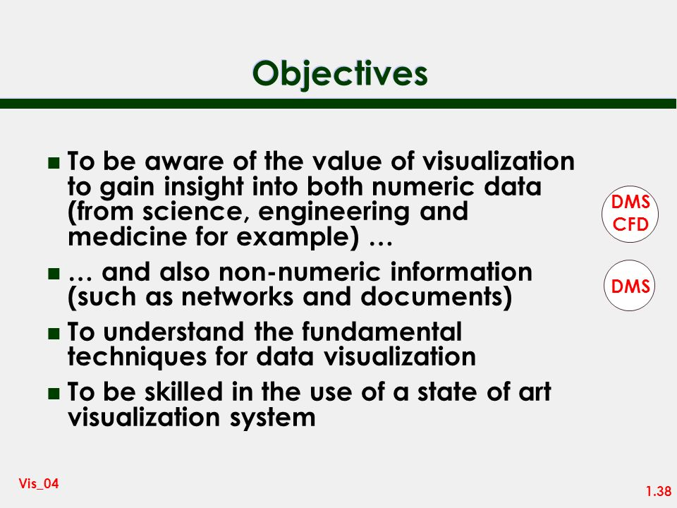 Objectives To be aware of the value of visualization to gain insight into both numeric data (from science, engineering and medicine for example) …