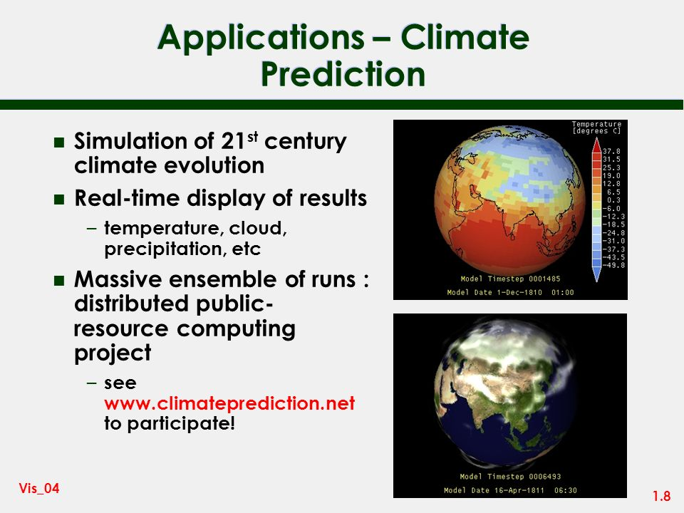 Applications – Climate Prediction
