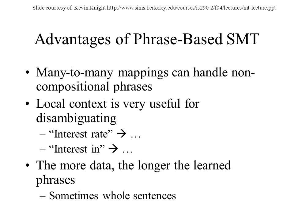 Advantages of Phrase-Based SMT