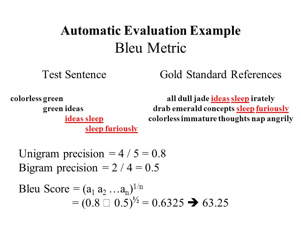 Automatic Evaluation Example Bleu Metric