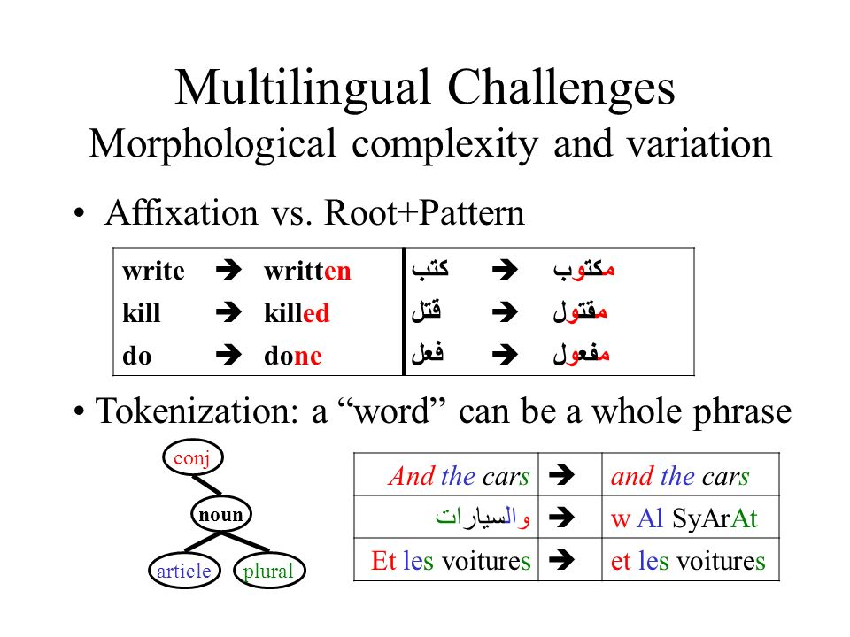 Multilingual Challenges Morphological complexity and variation