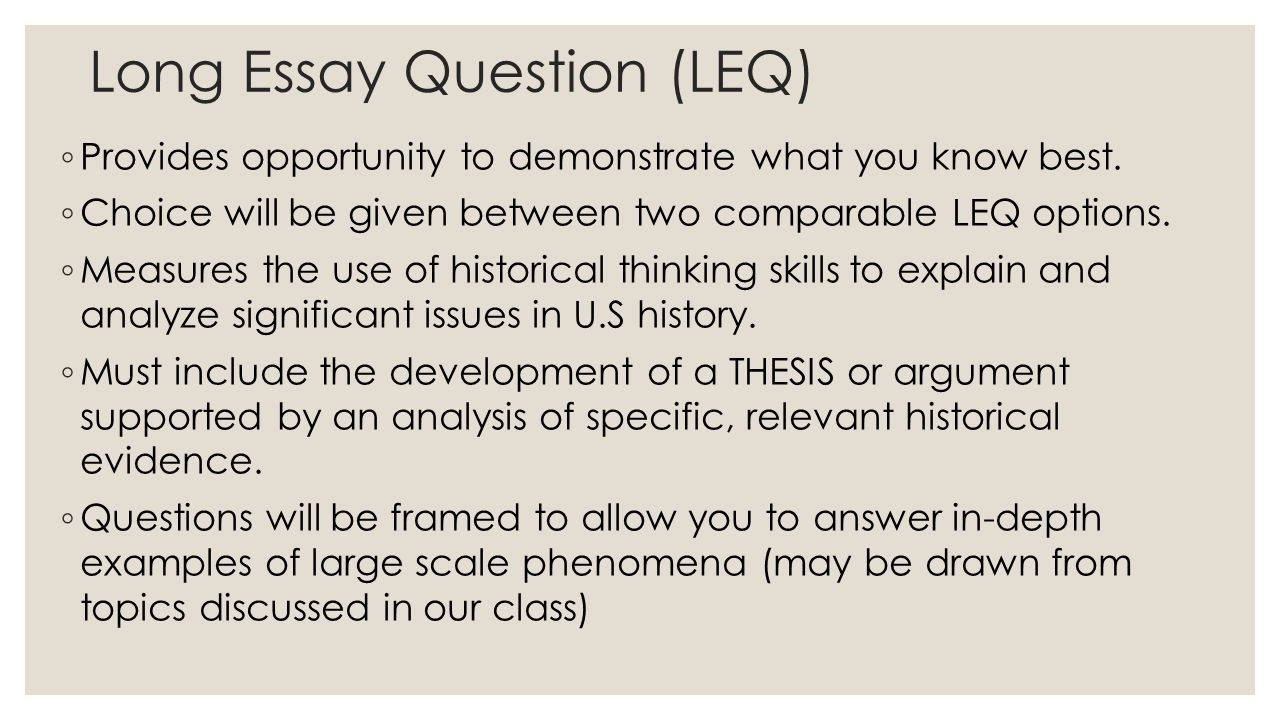 historical thinking skills ppt  long essay question leq