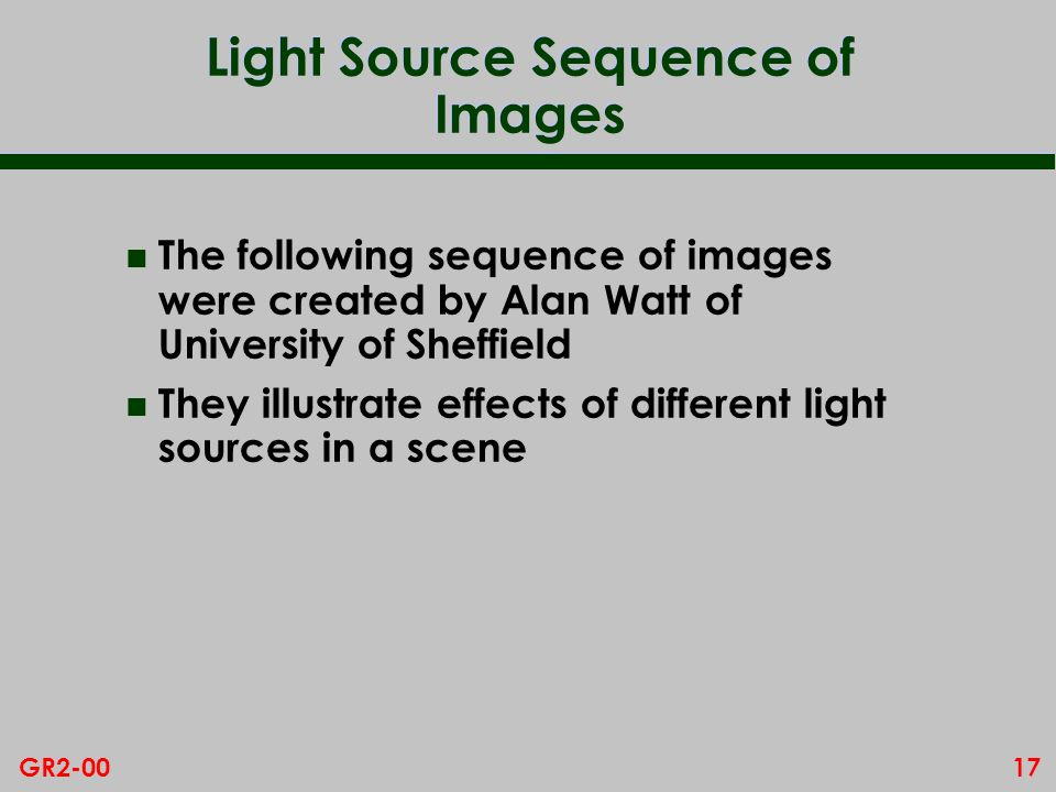 Light Source Sequence of Images