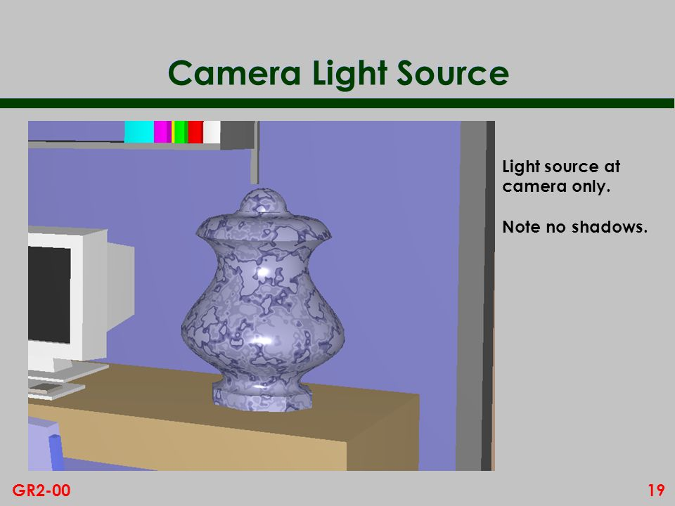 Camera Light Source Light source at camera only. Note no shadows.