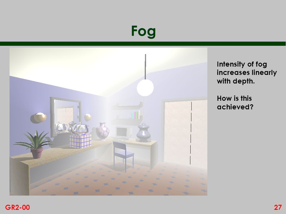 Fog Intensity of fog increases linearly with depth. How is this