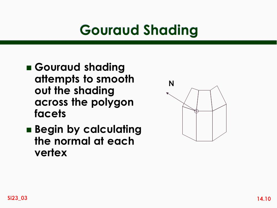 Gouraud Shading Gouraud shading attempts to smooth out the shading across the polygon facets. Begin by calculating the normal at each vertex.