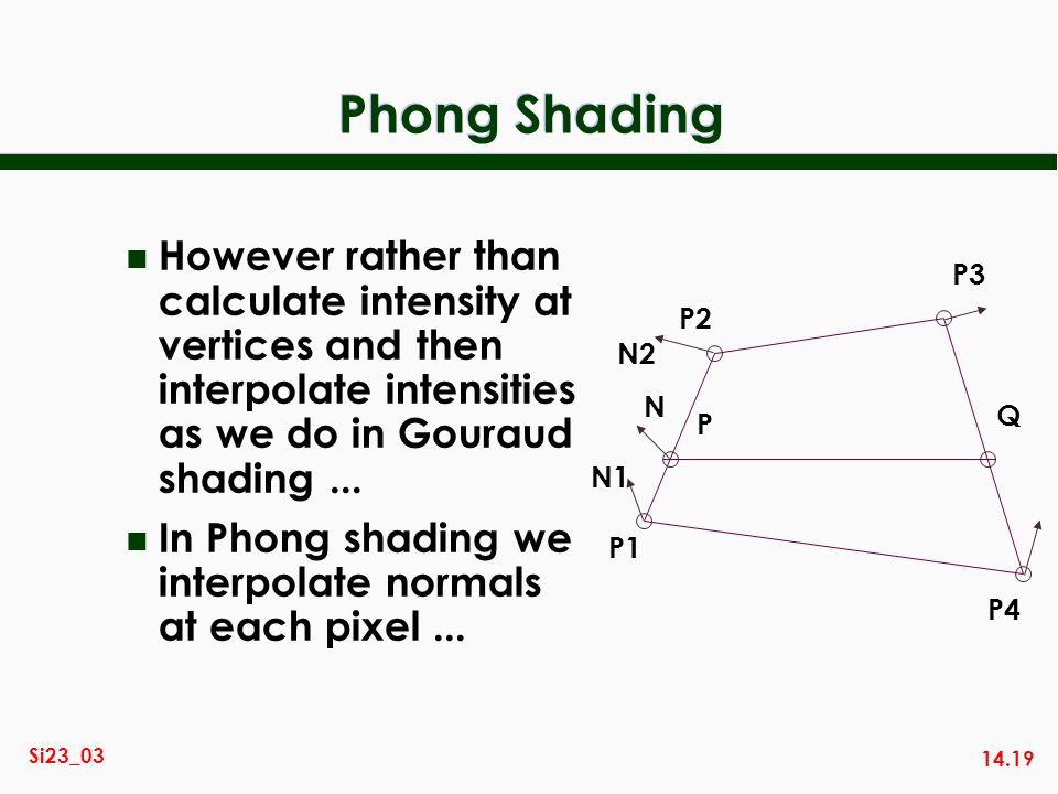 Phong Shading However rather than calculate intensity at vertices and then interpolate intensities as we do in Gouraud shading ...