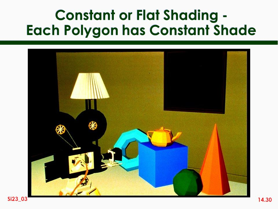 Constant or Flat Shading - Each Polygon has Constant Shade
