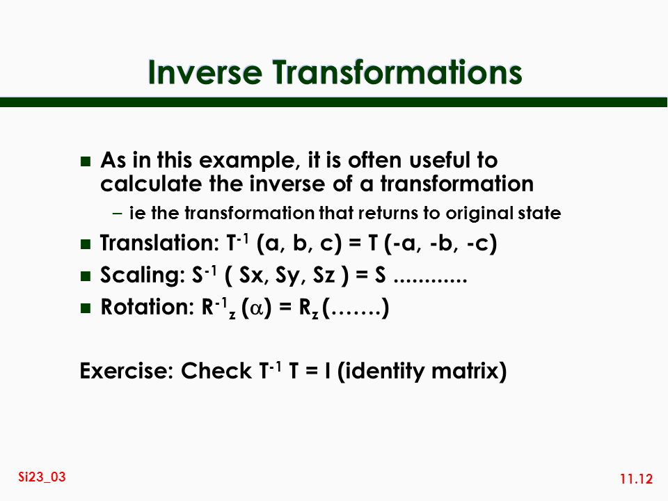 how to find the inverse of a transformation matrix