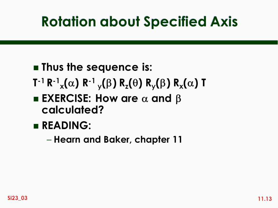 Rotation about Specified Axis