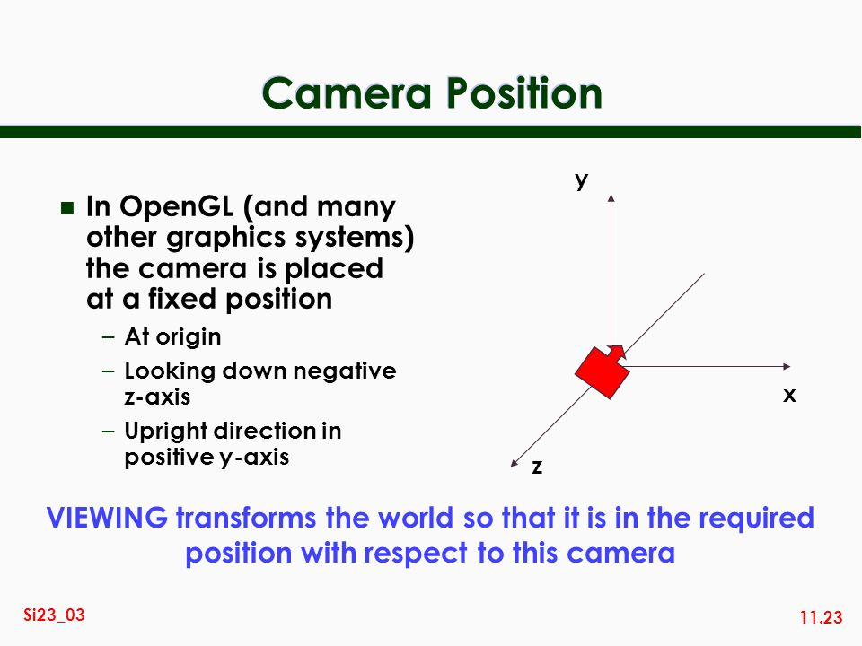 Camera Position y. In OpenGL (and many other graphics systems) the camera is placed at a fixed position.