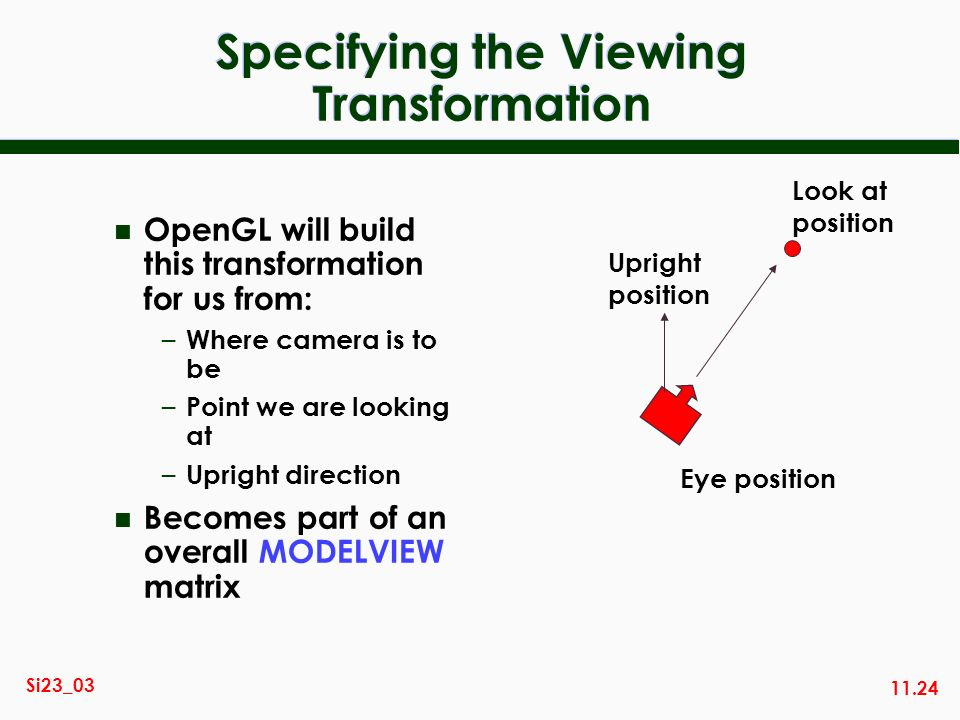 Specifying the Viewing Transformation