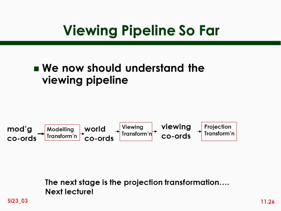 Viewing Pipeline So Far