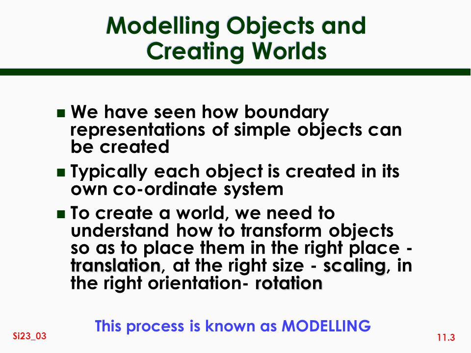 Modelling Objects and Creating Worlds