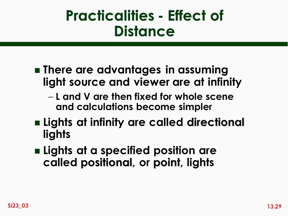 Practicalities - Effect of Distance
