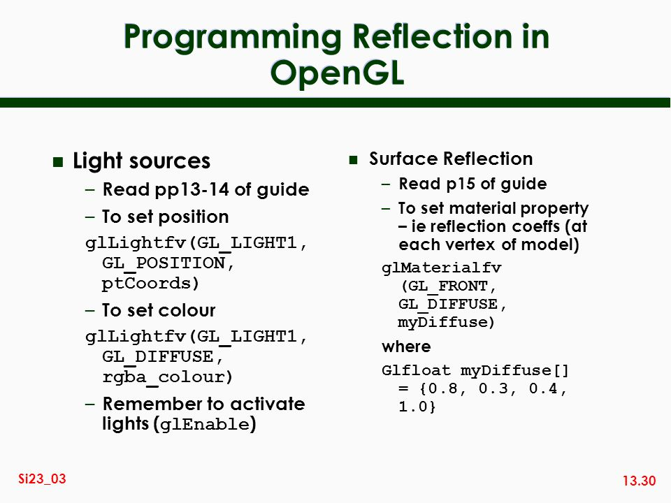 Programming Reflection in OpenGL