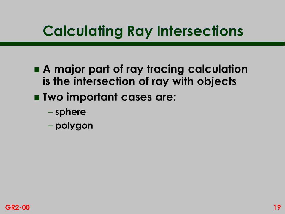 Calculating Ray Intersections