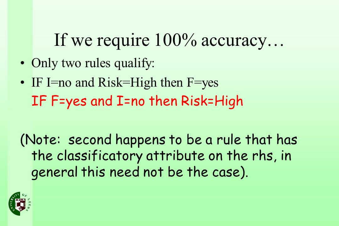 If we require 100% accuracy…