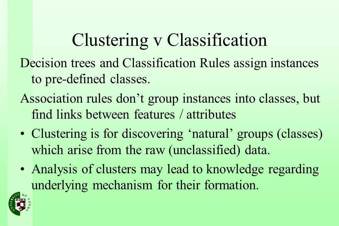 Clustering v Classification