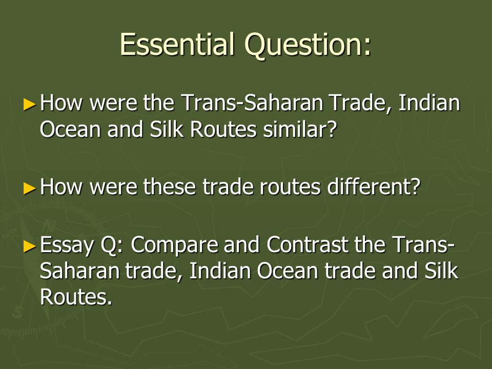 silk road and indian ocean trade essay The silk road is a trade route that links europe and asia together the indian ocean trade routes link india, west africa, and europe together although they are different in that the indian ocean .