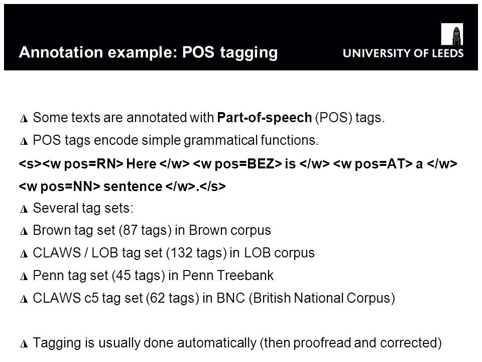 Annotation example: POS tagging