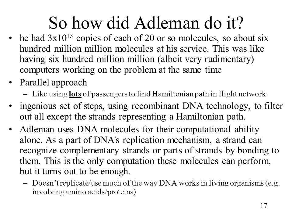 So how did Adleman do it